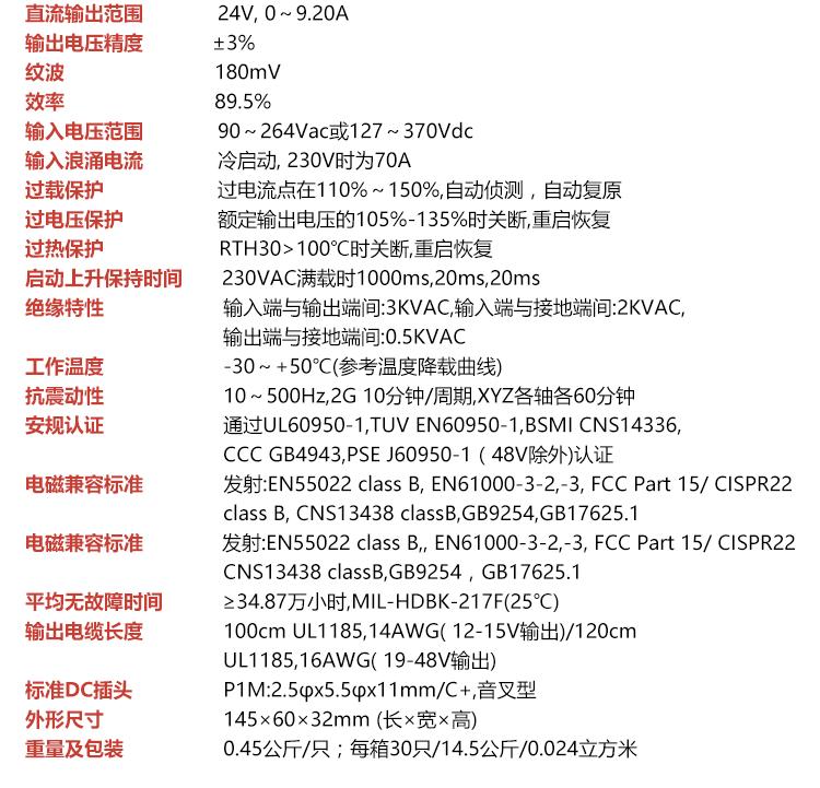 明纬GS90A24-P1M 电源适配器
